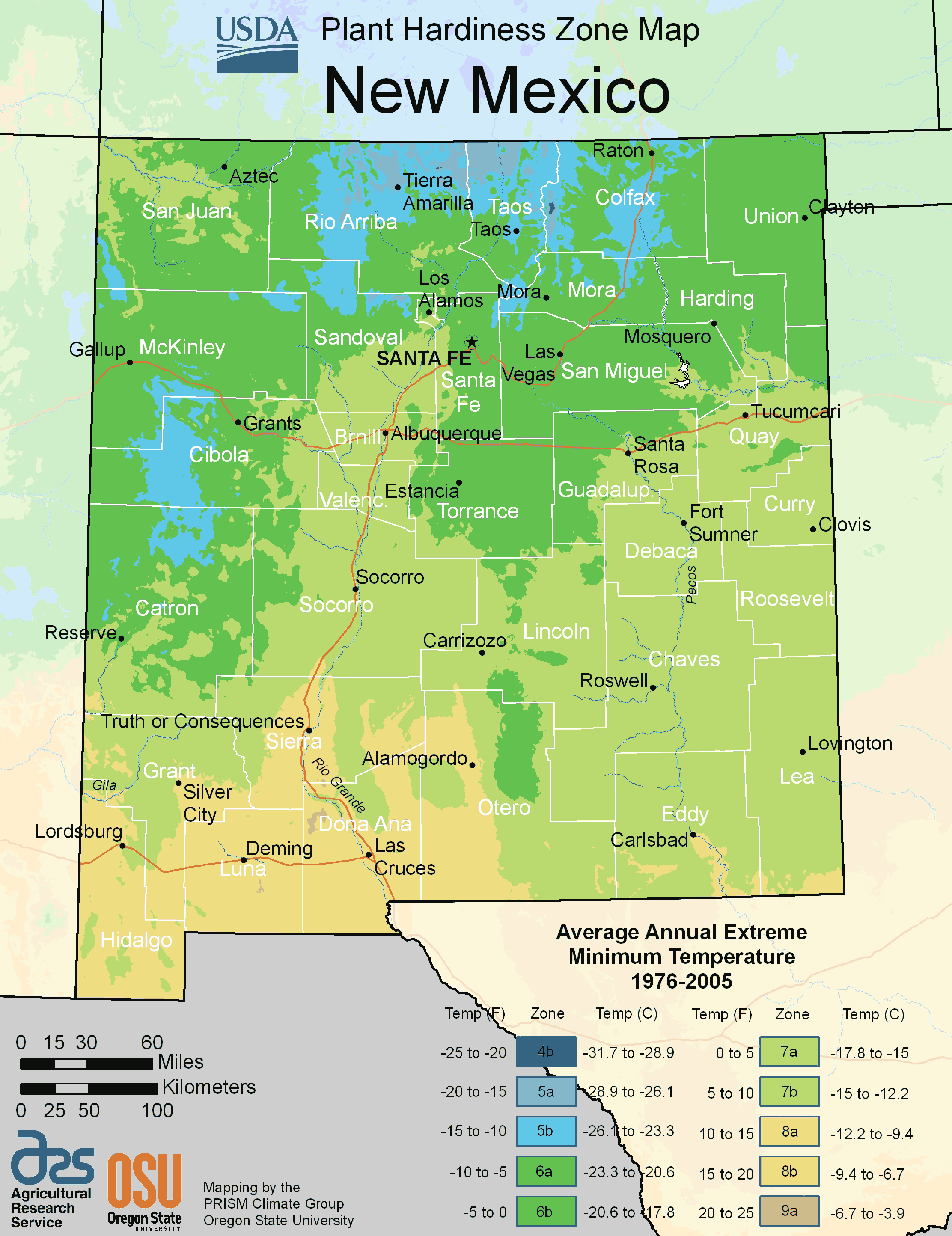 New Mexico Plant Hardiness Zone Map