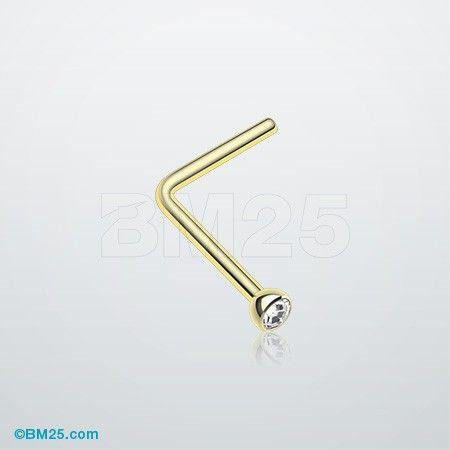 Rose Gold Press Fit Gem Top Steel Nose Stud Ring