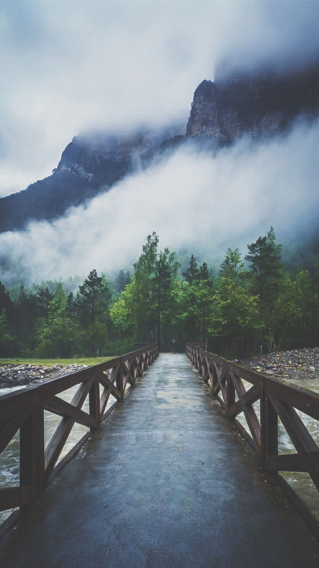 Farben Vintage Forest River Crossing Mountain Fog #iphone #6 #plus #