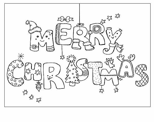 Scritta Merry Christmas Disegno Di Natale Da Colorare