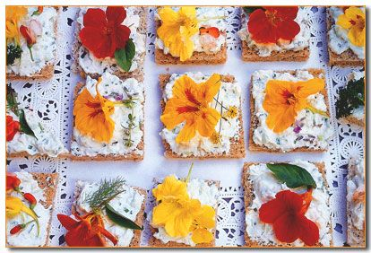 Flower Canapes, from Cathy Wilkinson Barash's book: Edible Flowers: From Garden to Palate.