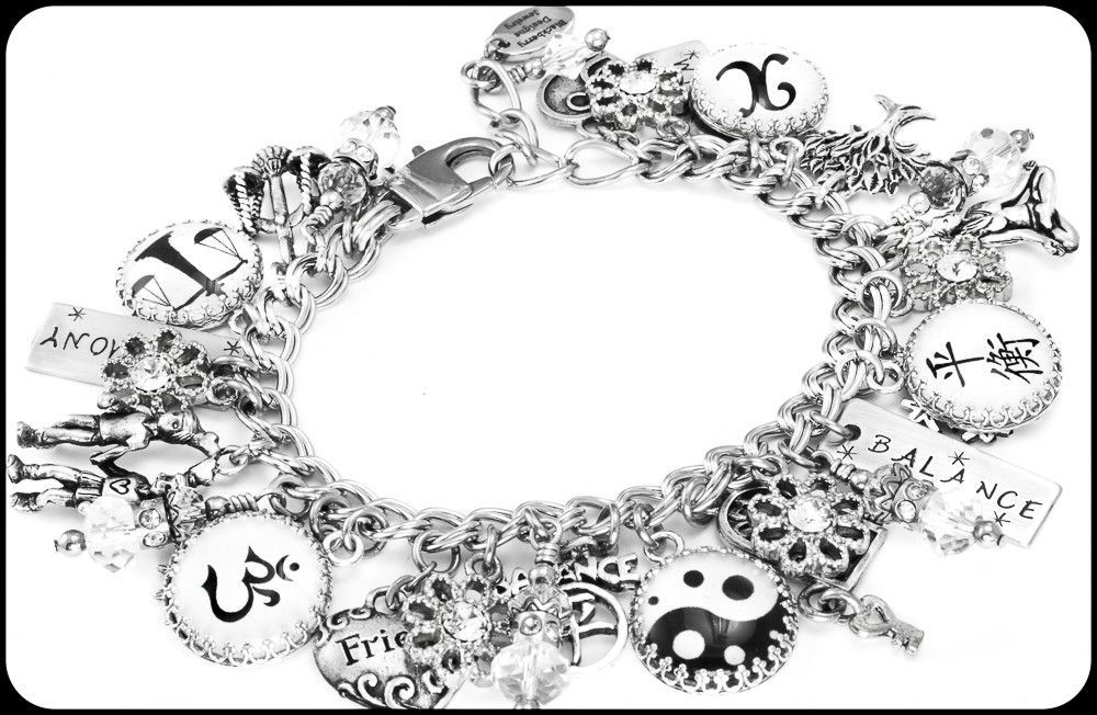 Lifes balance charm bracelet with images silver charm