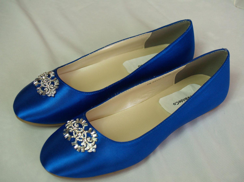 Wedding Flat Royal Blue Shoes with Brooch Royal by NewBrideCo ...