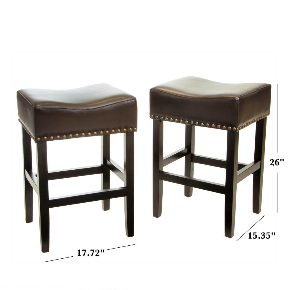 Noble House Lisette 26 In Brown Cushioned Counter Stool Set Of 2