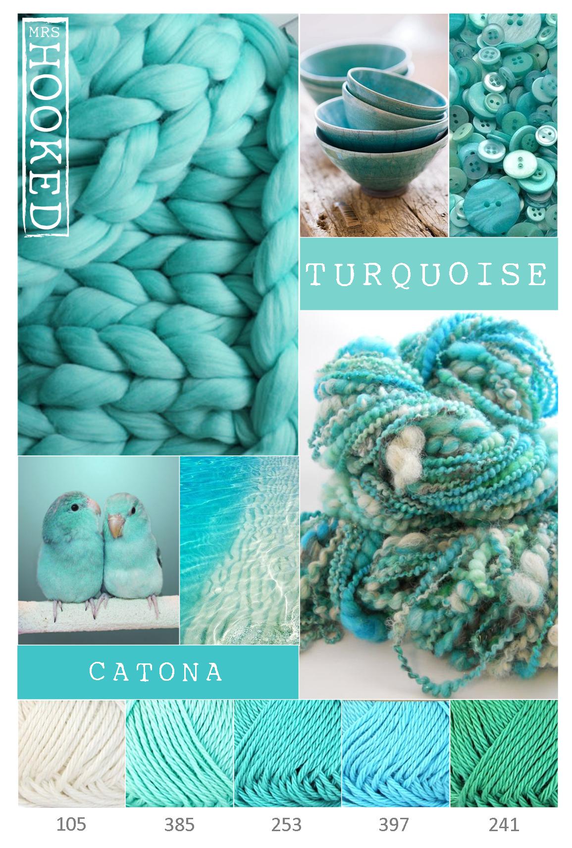 Turquoise - Kleurinspiratie turquoise - Scheepjes Catona - Mrshooked  Blue ColorsTurquoise  Color SchemesColor ...