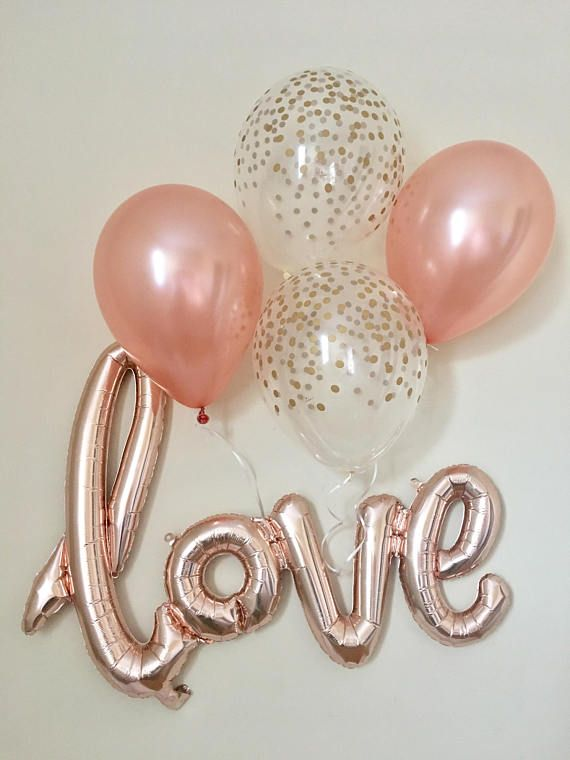 Love Rose Gold Script Balloon~Rose Gold Balloons~Wedding Shower Decorations~Gold Confetti Look Balloon~ Bridal Shower~Engagement Party. Affiliate #bridal #bridalshower #wedding #bridalshowerdecorations