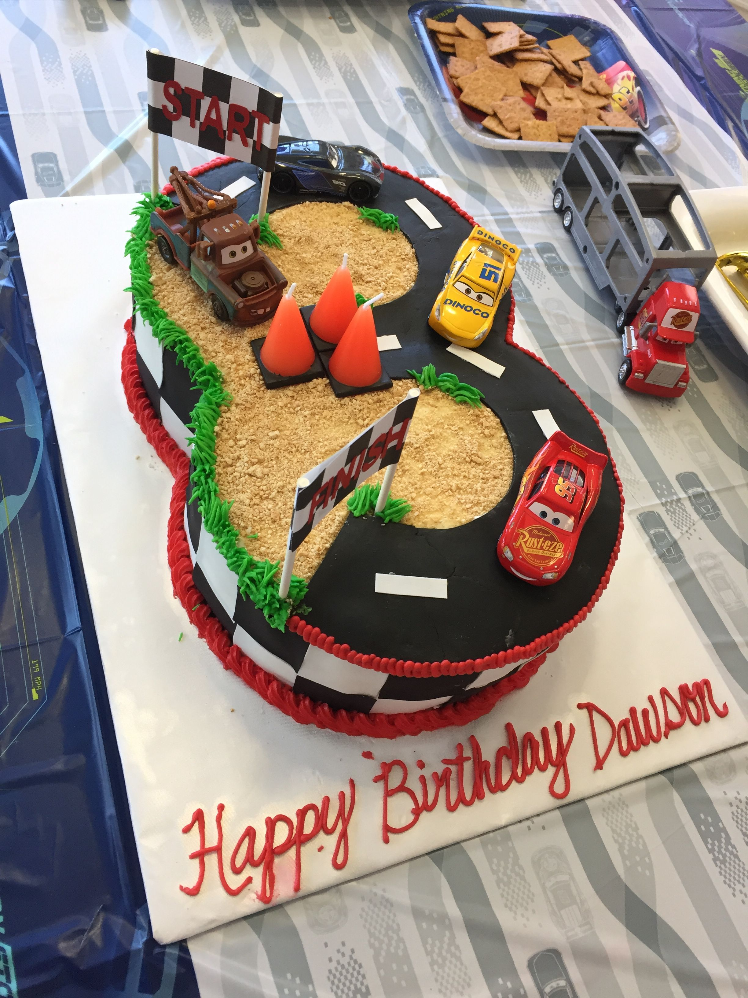 Cars 3rd Birthday Cake The Road Makes A 3 And Candles Are Traffic Cones