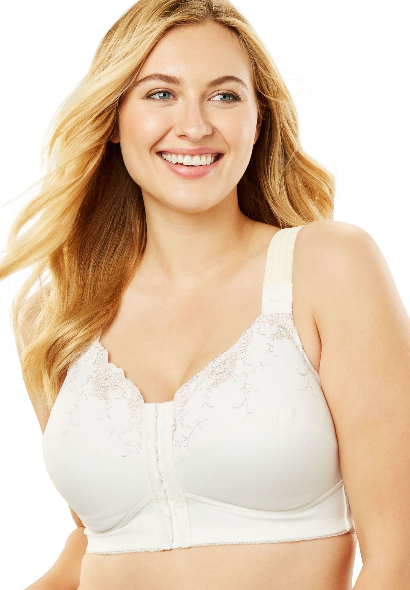 aaa2b17cd9 Embroidered Microfiber Posture Bra by Comfort Choice - Women s Plus Size  Clothing
