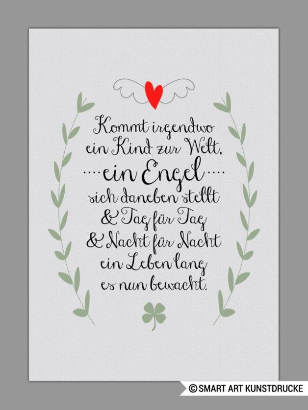 Schutzengel Kunstdruck Geschenk Taufe Geburt Schone Spruche Zur Geburt Kinderkunst Spruche Zur Geburt