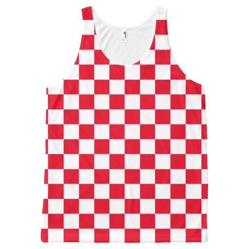 83eb76a65e527c Red Checkered All-Over Print Tank Top Tank Tops