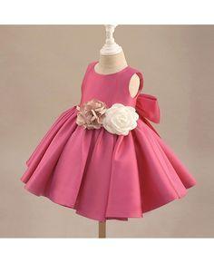 e80a9b9b18e Fuchsia Satin Classic Flower Girl Dress Elegant With Flowers And Bow   TG7015 - GemGrace.com
