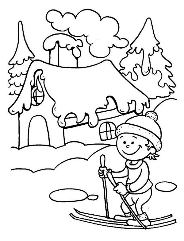 Little Kid Learning How To Play Ski On Winter Coloring Page Kids Play Color Coloring Pages Winter Cool Coloring Pages Snowman Coloring Pages