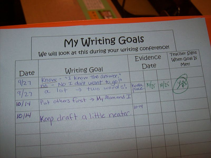 during writing conferences create goals with students have them highlight examples of meeting those
