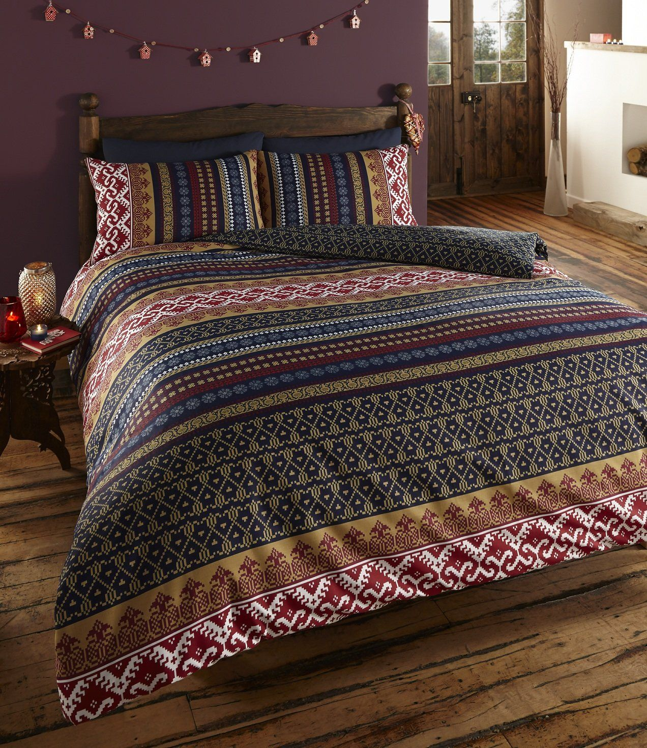 Indian Ethnic Print Double Bed Duvet Quilt Cover Bedding