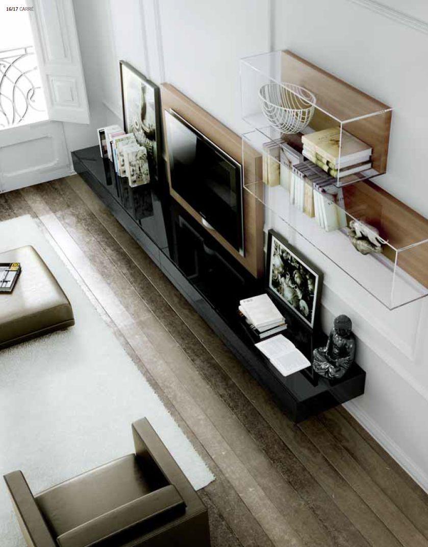Sala de tv | muebl en acrilico madera y negro | alejandra ...