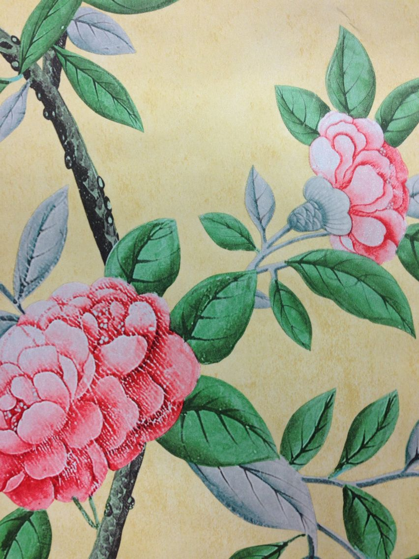 Graham Brown Chinoiserie Imperial Yellow A Trailing Peony Design Reproduced From Fragment