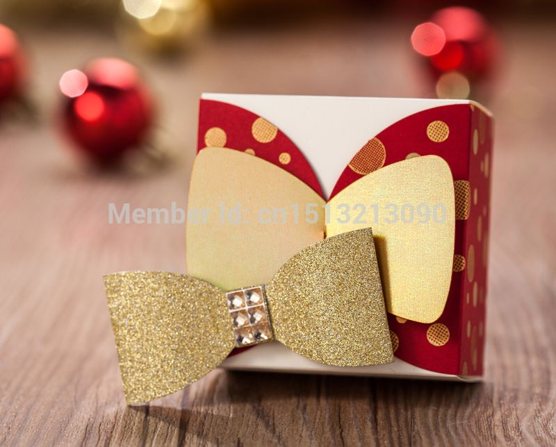 Cheap Luxury Wedding Sweets Candy Favour Packing Boxes Bags Table Decorations Gold Red White Polka Dot Bowknot Design 2015 New Arrival, Compro Calidad Artículos de Fiesta directamente de los surtidores de China: 	  	Description	Luxury wedding favour boxes sold in packs of  50 pcs.  Made of high quality paper, v