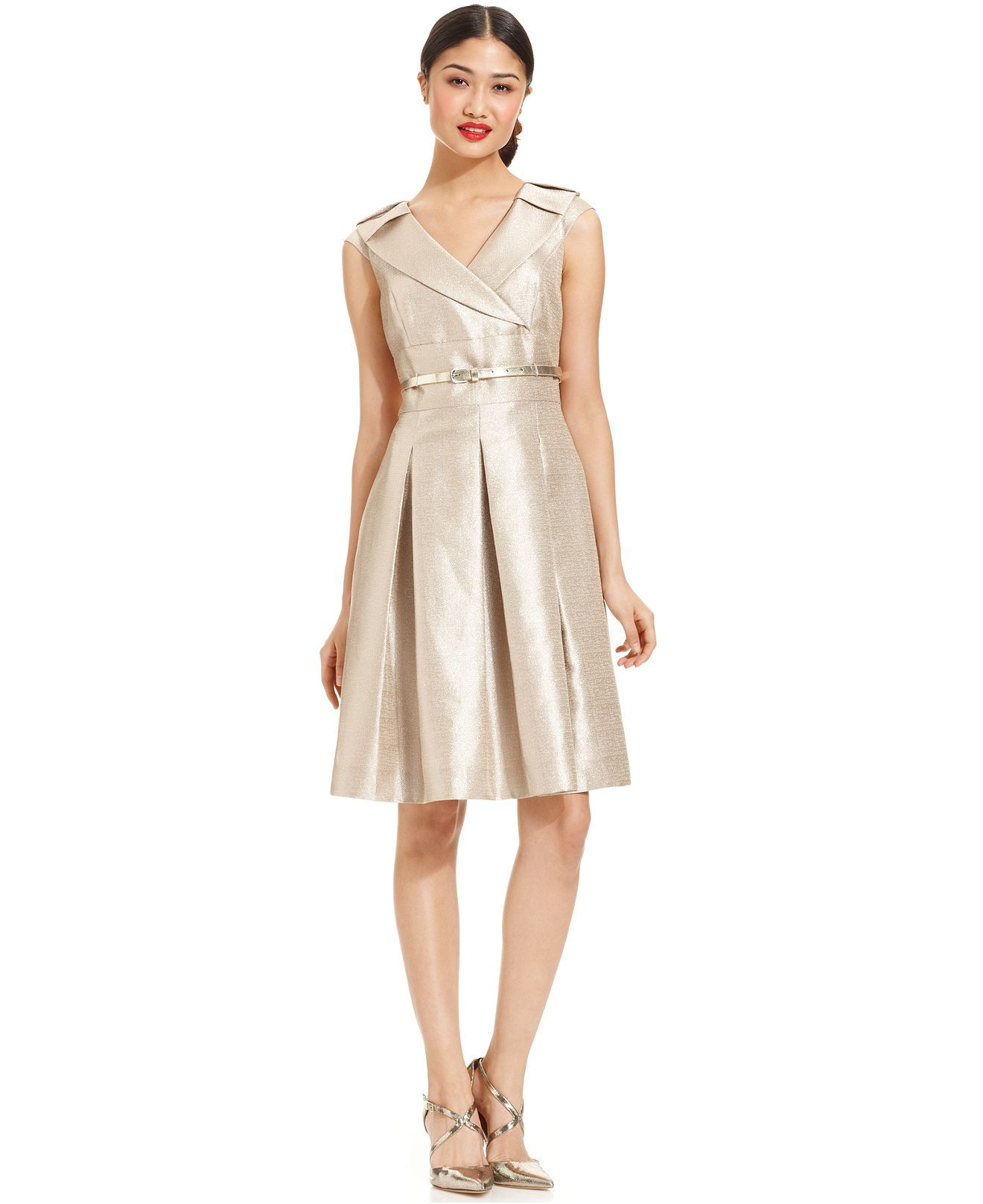 Tahari metallic belted portrait collar dress dresses women tahari metallic belted portrait collar dress dresses women macys ombrellifo Images