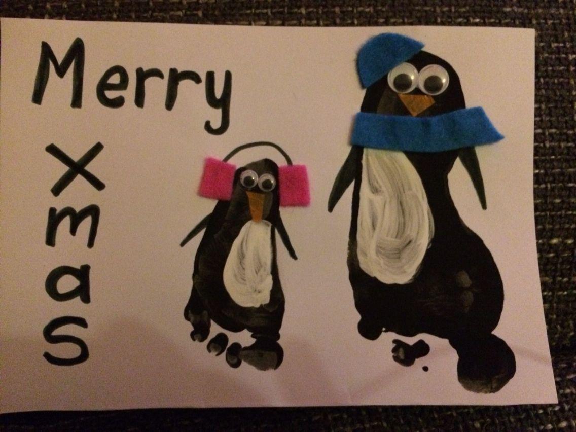 Penguin Christmas Cards Footprint.Christmas Cards Sibling Footprint Penguins Education