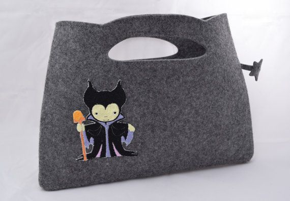 Felt Hand Bag with Little Maleficent by GeekeryLabs on Etsy