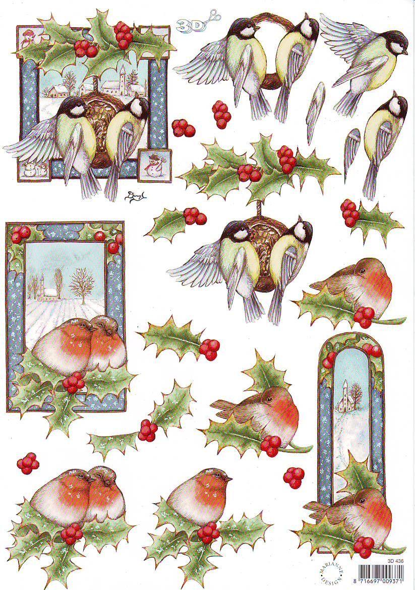 Robin With Winter Flowers Decoupage 1 x A4 Sheet