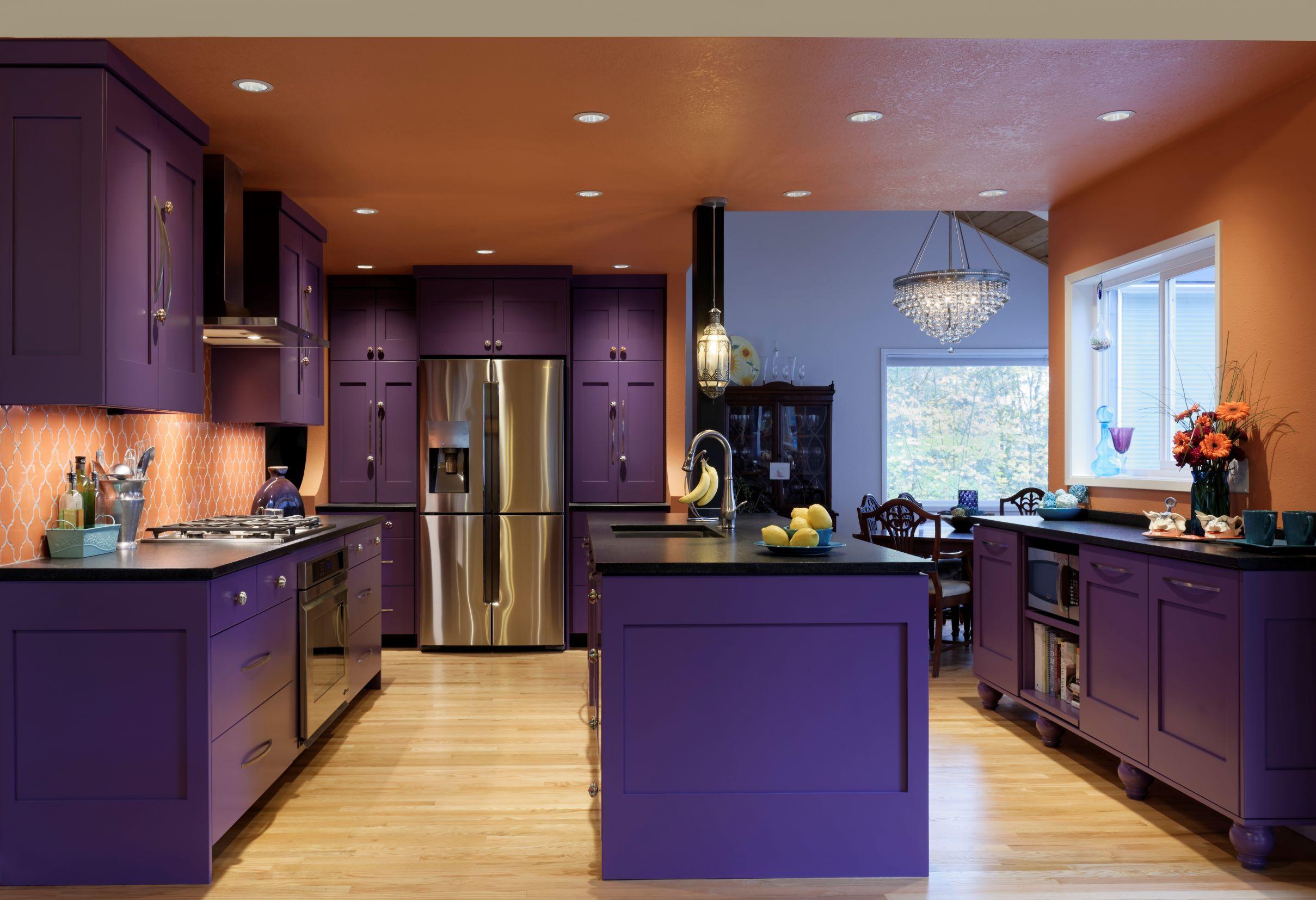 Open Layout Kitchen With Island Purple Kitchen Purple Kitchen Cabinets Dark Kitchen