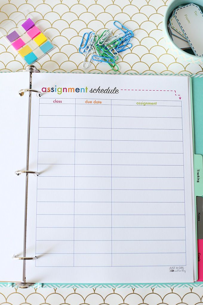 student binder for back to school with free printables student