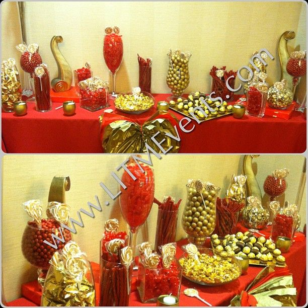 Red And Gold Candy Buffet 50th Birthday Decorations Gold Birthday Party Gold Candy Buffet