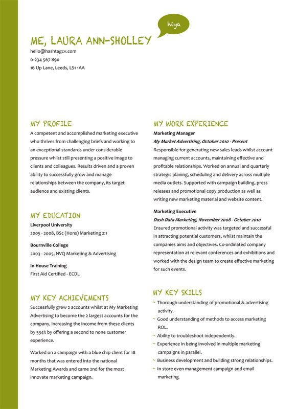 The Me Myself And I CV   Resume Design Green from Hashtag CV CV - resume about me