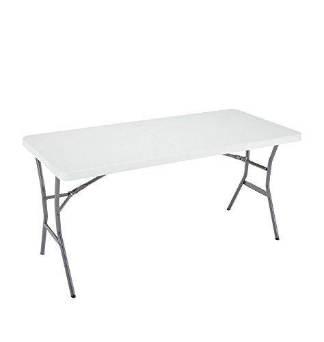 Lifetime 5foot Light Commercial Foldinhalf Table White Granite Click Image For More Details Note It Is Affiliat Half Table Fold In Half Table White Granite