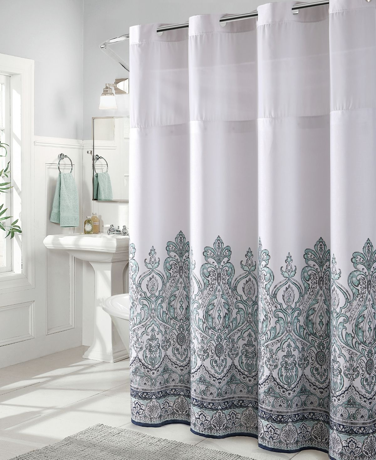 Hookless Damask Border Print 3 In 1 Shower Curtain Reviews