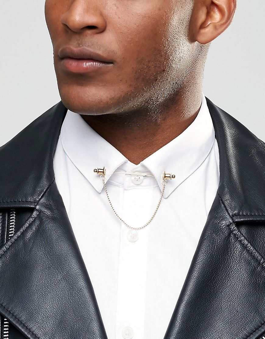 ca1921a8fe6c Reclaimed Vintage Collar Bar With Chain | Collar bar pin | Collar ...