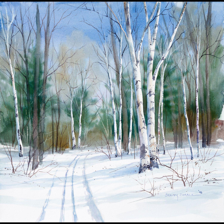 "Winterlandschaftsmalerei Aquarell ""Birch Trail""; Giclée-Druck …"