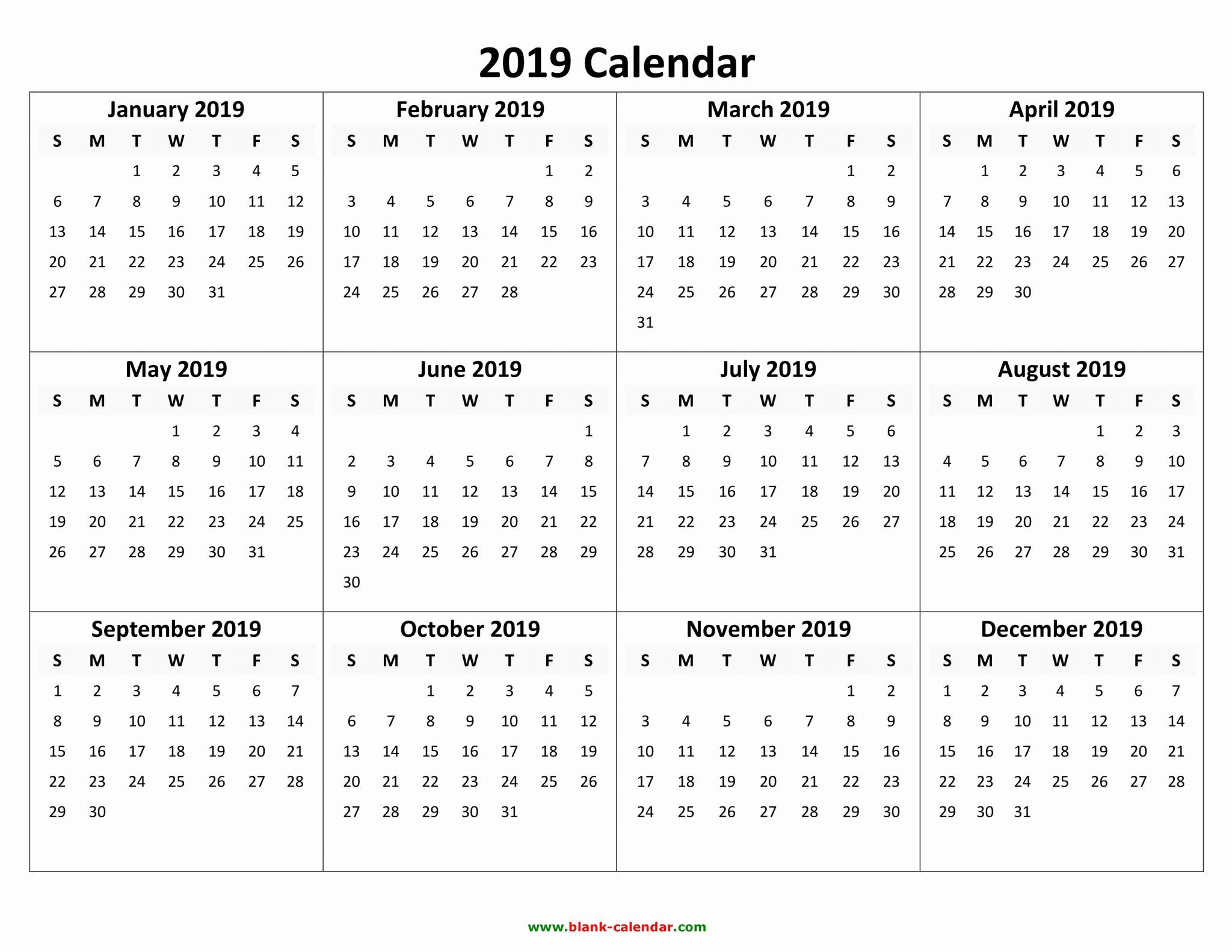 image regarding Printable 12 Month Calendar named Absolutely free Printable Calendar 2019 with Vacations Blank 12 Thirty day period