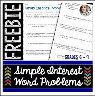Free Math Lesson Simple Interest Word Problems Worksheet Go To The Best Of Teacher Entrepreneurs Word Problem Worksheets Free Math Lessons Word Problems