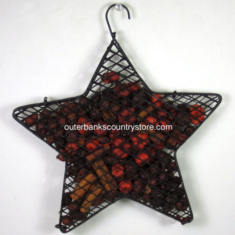 """Outer Banks Country Store - 8"""" Hanging Star with Scented Rosehips Potpourri - Pumpkin Spice, $14.99 (http://www.outerbankscountrystore.com/8-hanging-star-with-scented-rosehips-potpourri-pumpkin-spice/)"""