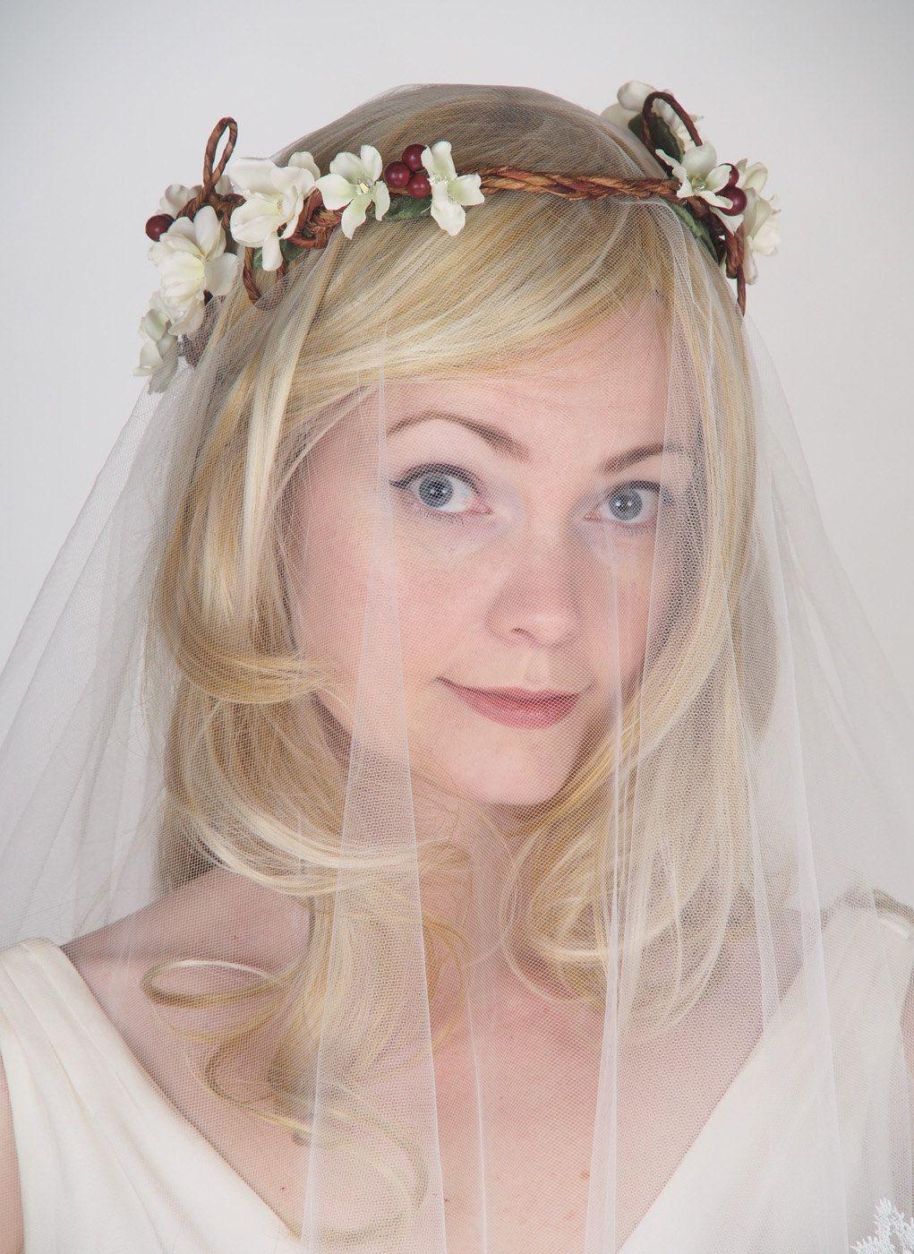 Flower Hair Wreath - Floral Wedding Crown - Woodland Wedding Flower ...
