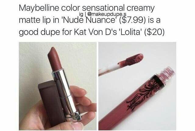"Maybelline color sensational creamy matte lip in ""Nude Nuance"" — Dupe for Kat Von D's ""Lolita"""