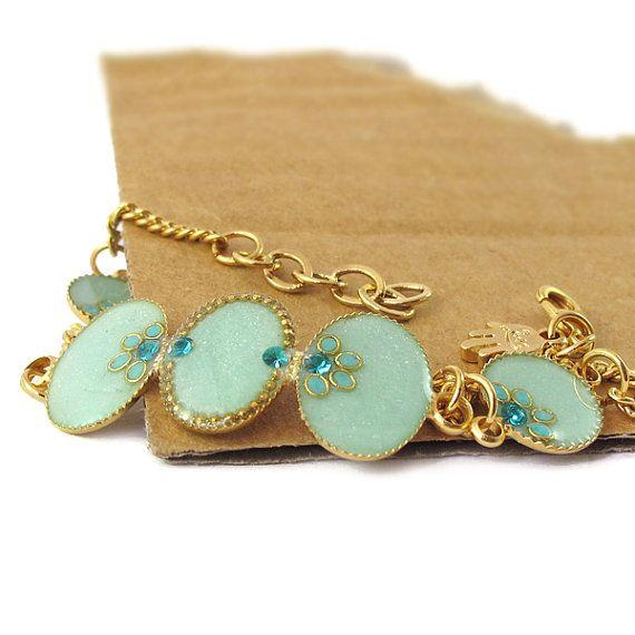 Gold bracelet Light green mint color resin by @SigalitAlcalai, $49.00