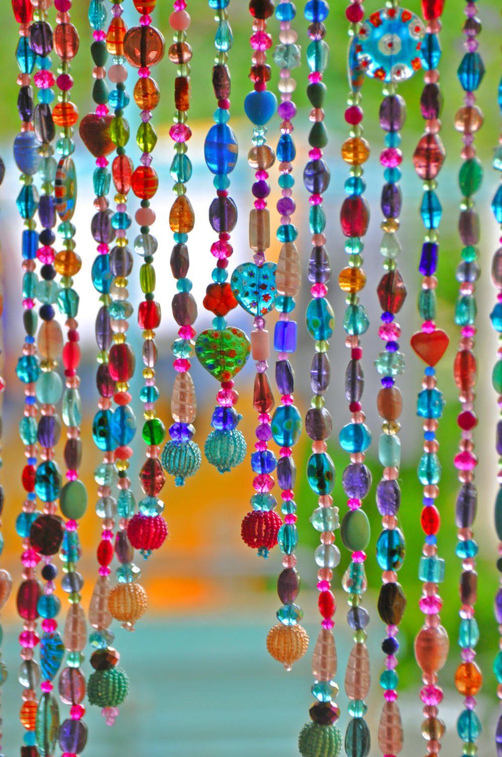 Beaded curtain hanging beads bohemian curtain boho - Hanging beads for doorways ...