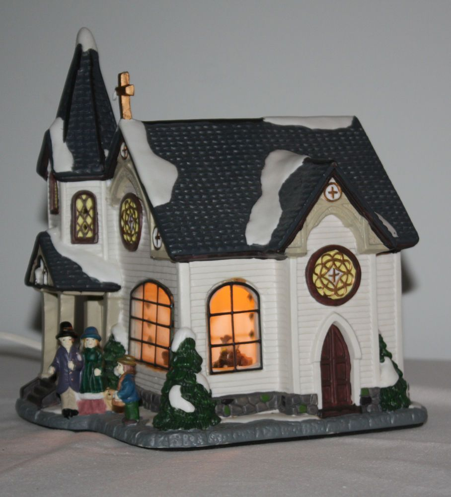 Lighted House Christmas Glass Window Hand Painted Figurines Porcelain Cross NIB http://stores.ebay.com/The-Spicy-Senior?_rdc=1