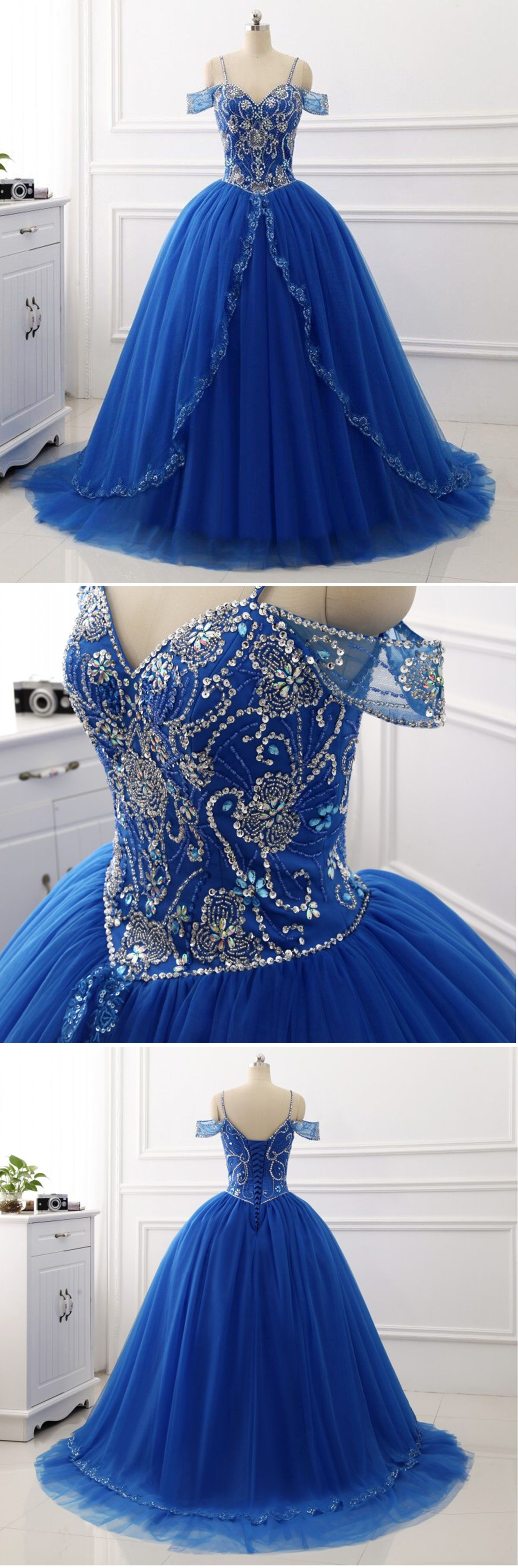 Shinny royal blue off shoulder long beading ball gown long off