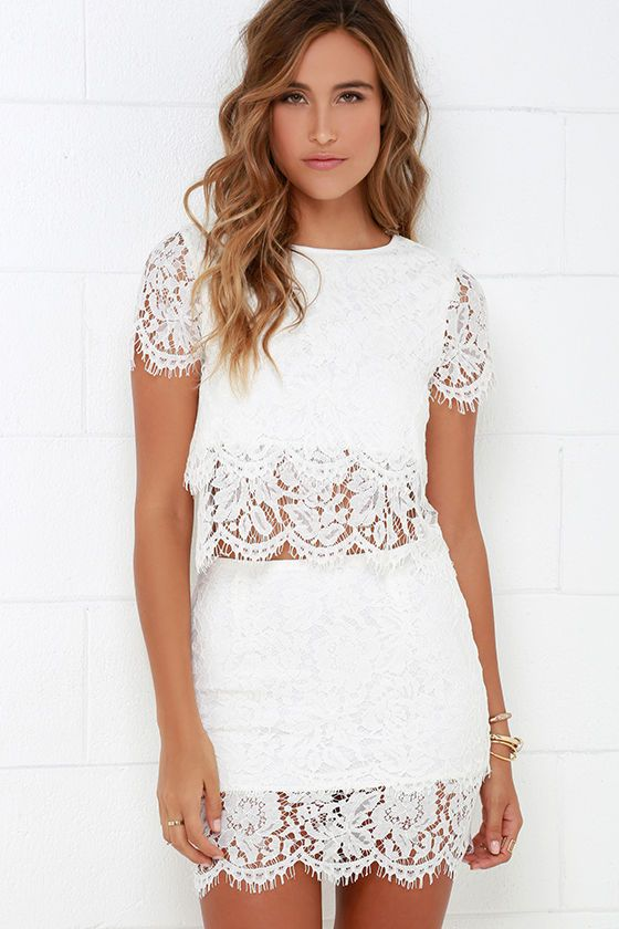 158bb3eb0e You ll fondly reminisce on all the good times you ve had (and will have!)  in the Turn Back Time Ivory Lace Two-Piece Dress! Ivory eyelash lace  overlay ...