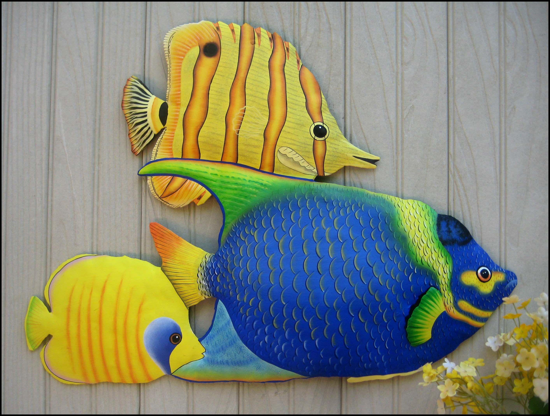 Tropical Fish Metal Art Painted Metal Wall Art 34 Haitian Art Tropical Fish Wall Hanging Outdoor Meta Outdoor Metal Art Metal Fish Wall Art Fish Wall Art