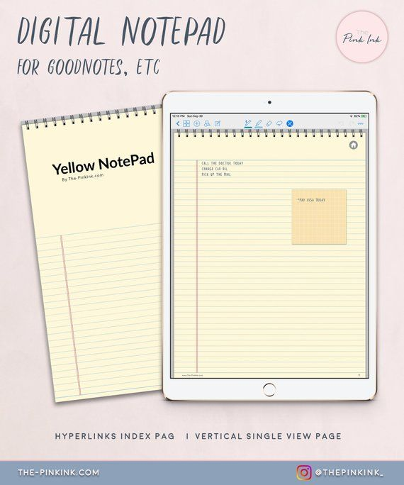 Digital NotePad Yellow paper lined Note Pad Digital