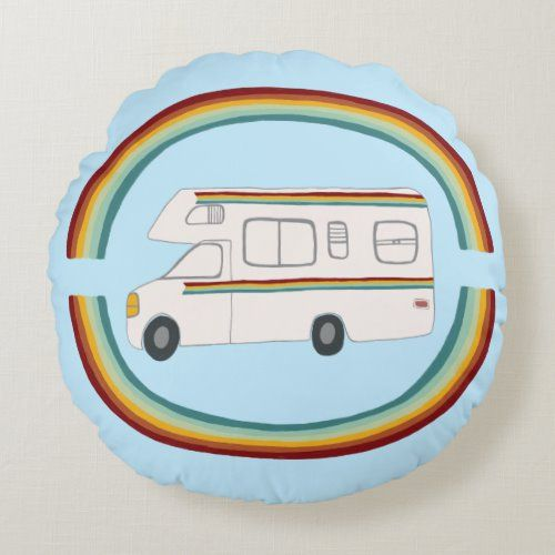 Happy Camper Rainbows Whimsical Motorhome RVing Round Pillow