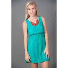 EVERLY: Absolutely Adored Lace Dress-Jade - $48.00
