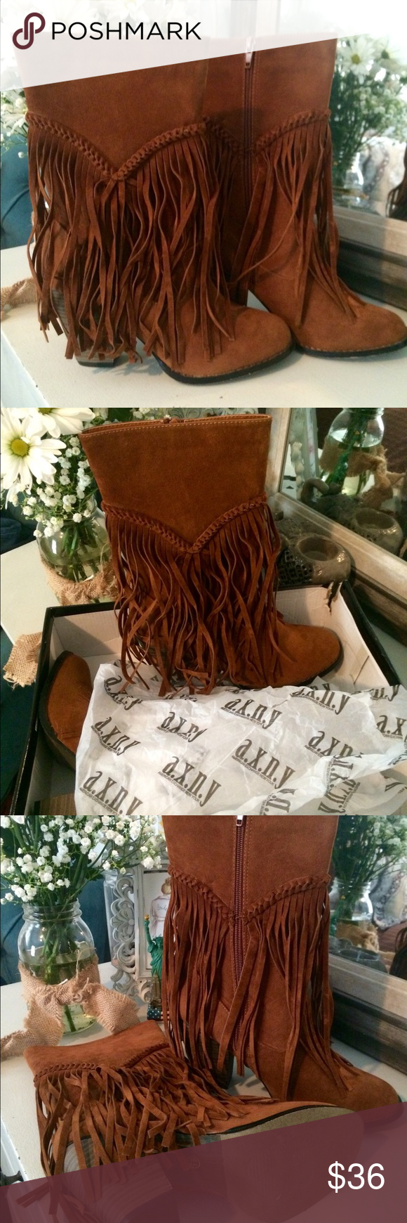 AXNY Fringe Boots AXNY Fringe Boots. Heel height about 2-3in. New in box. Never been worn. Size 8.5. American Exchange New York Shoes Heeled Boots