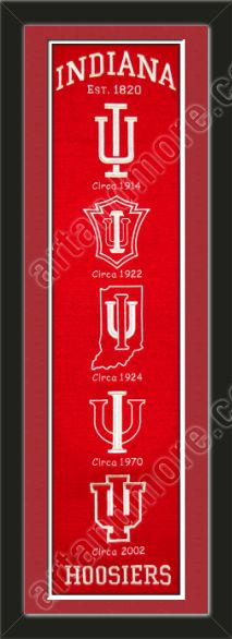 This framed University of Indiana heritage banner, double matted ...