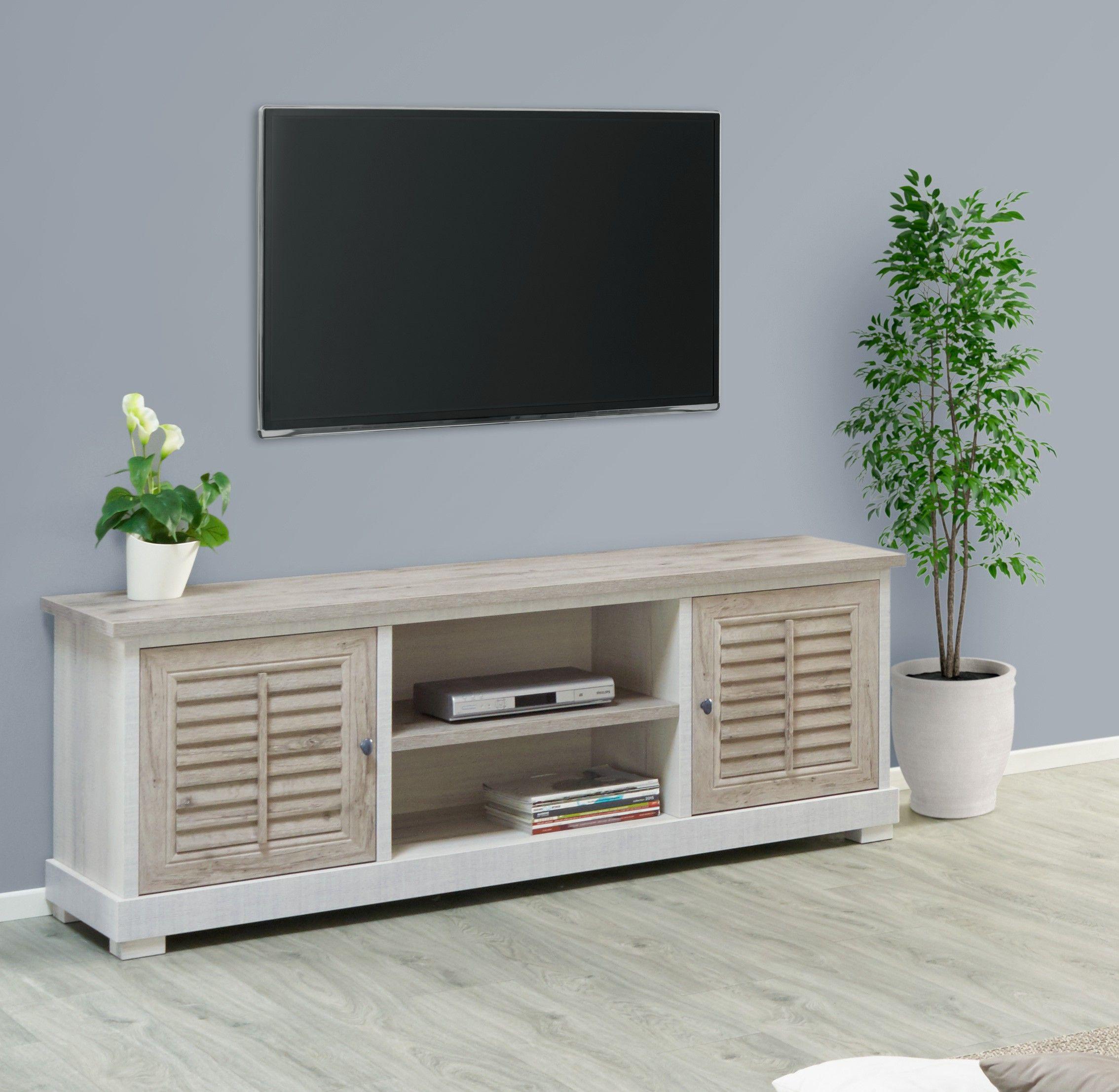 meuble tv contemporain chene blanchi
